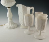 Westmoreland Milk Glass Pitcher, Glasses and Lamp : EBTH