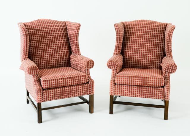 ethan allen wingback chairs diy universal chair covers pair of ebth