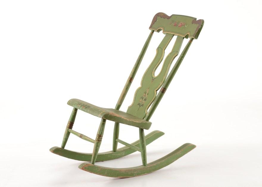 Vintage HandPainted Armless Rocking Chair  EBTH