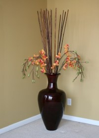 Large Decorative Vase with Bamboo Sticks and Silk Orchids ...