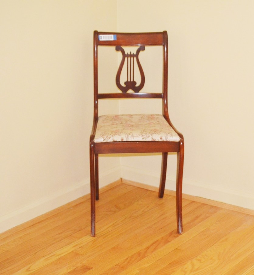 Vintage Mahogany Empire Style Lyre Back Chair By Tell City