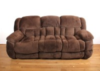 Overstuffed Brown Plush Microfiber Reclining Sofa : EBTH