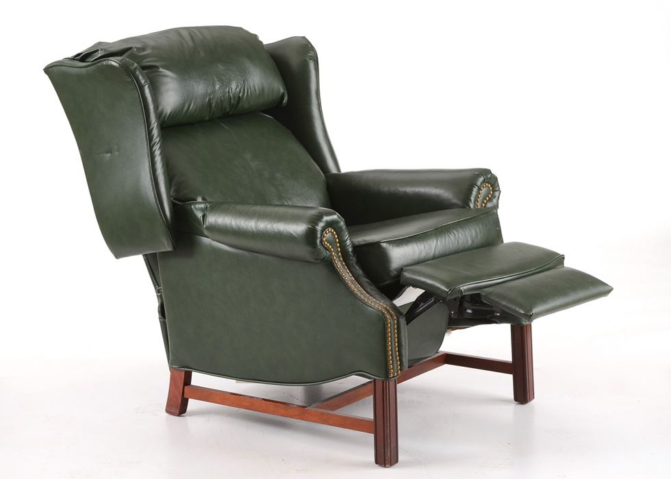 stressless chair similar webbed chaise lounge chairs hancock & moore green leather wing back recliner : ebth