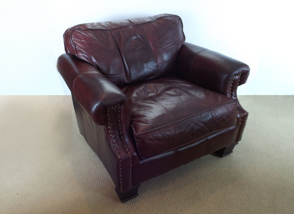 bernhardt brown leather club chair spring rocking handsome ebth
