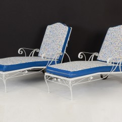 Iron Chaise Lounge Chairs Ivory Chair Covers For Rent Pair White Wrought Ebth