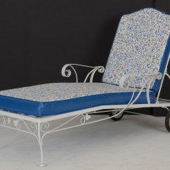 Iron Chaise Lounge Chairs Patio Chair Repair Kits Pair White Wrought Ebth