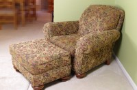 Broyhill Overstuffed Upholstered Chair and Ottoman : EBTH