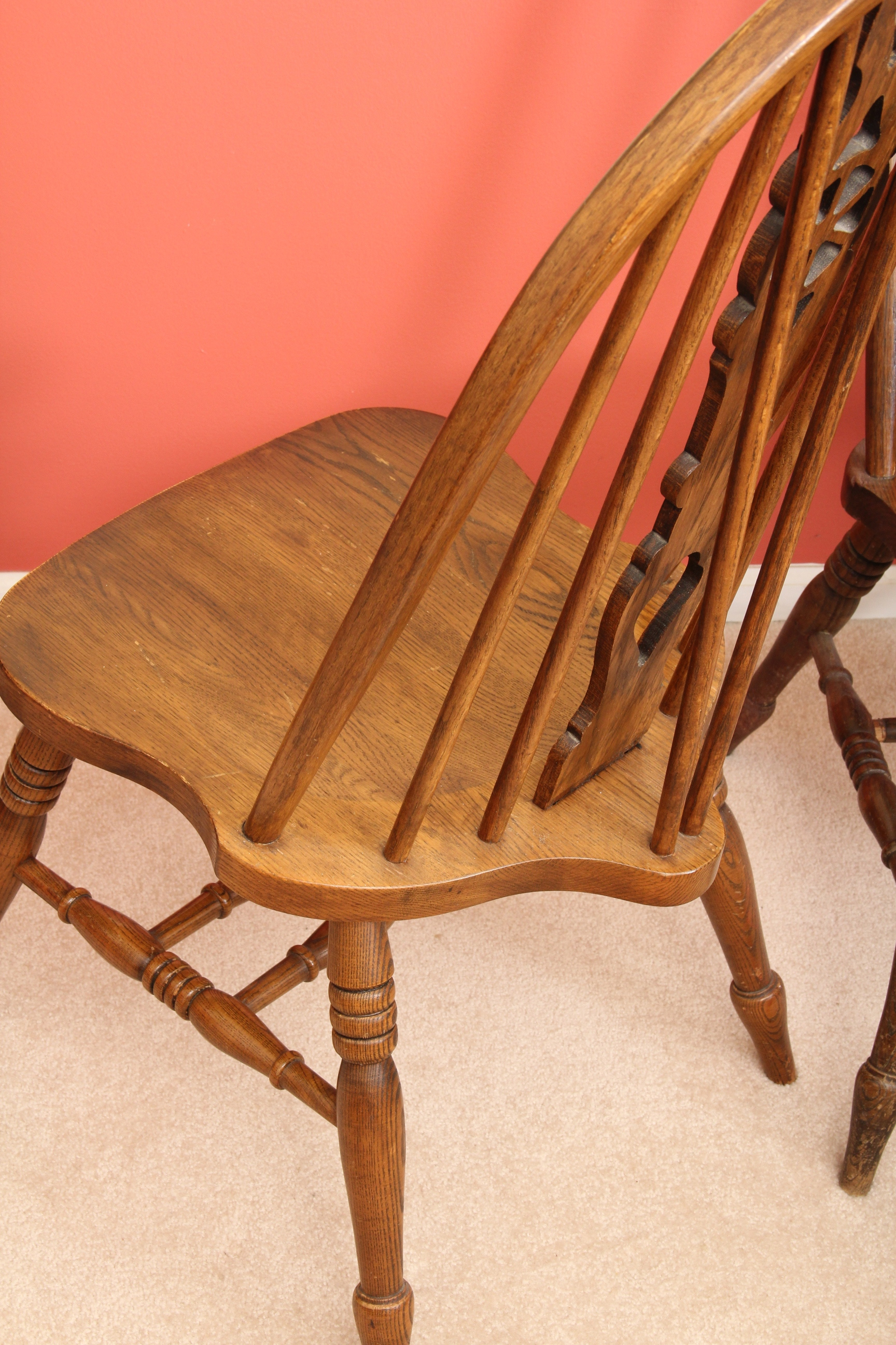 wagon wheel chair unusual fabric set of six quotwagon quot oak chairs ebth
