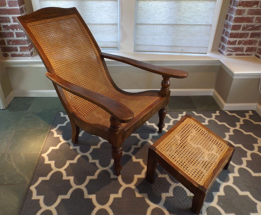 Indonesian Teak And Wicker Lounge Chair Ottoman Ebth