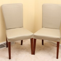 Chair Covers Pottery Barn Banquet Singapore Set Of Two Quotmegan Quot Chairs With Slipcovers Ebth