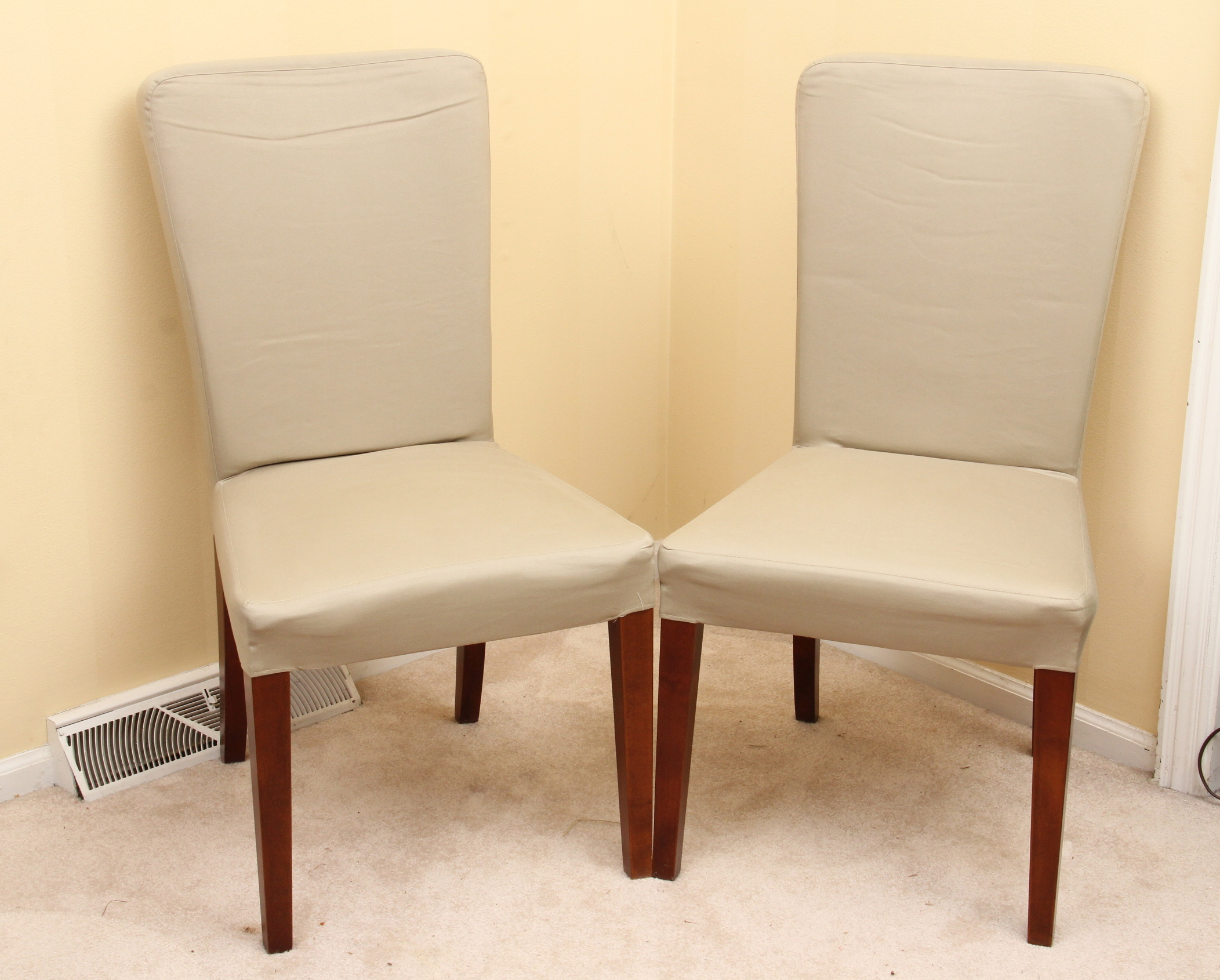 pottery barn dining chair covers chairs for autism set of two quotmegan quot with slipcovers ebth
