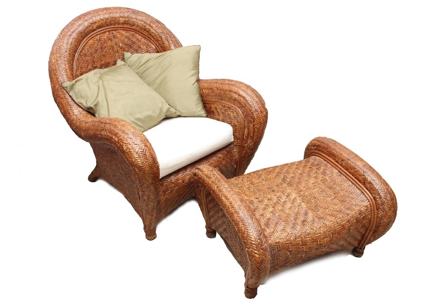 Pottery Barn Wicker Chair and Ottoman