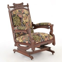 Antique Platform Rocking Chair With Springs Captain Chairs For Pontoon Boats Eastlake Style Rocker Floral Upholstery Ebth
