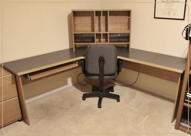 corner desk chair pub table and set sauder with hutch top office ebth
