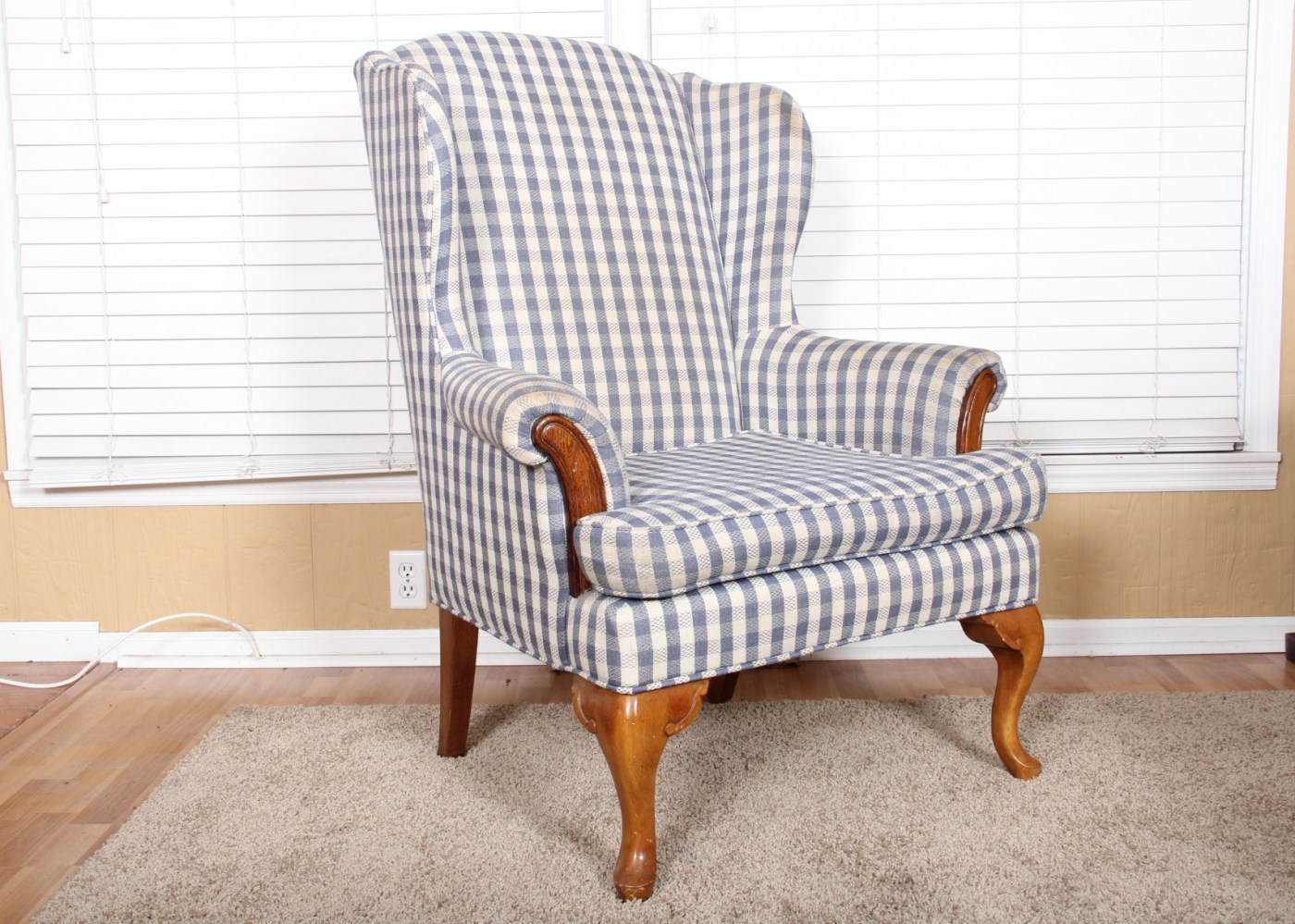 Blue And White Chair Gingham Wingback Chair In Blue And White Ebth