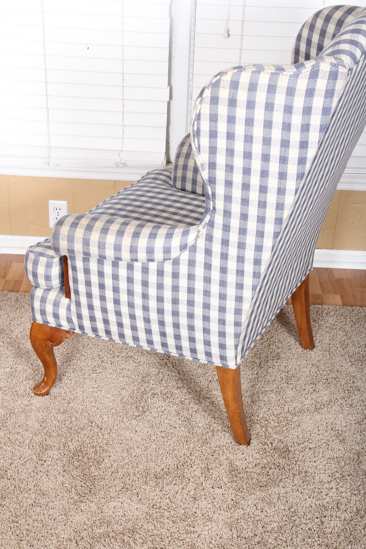 Gingham Chair Gingham Wingback Chair In Blue And White Ebth