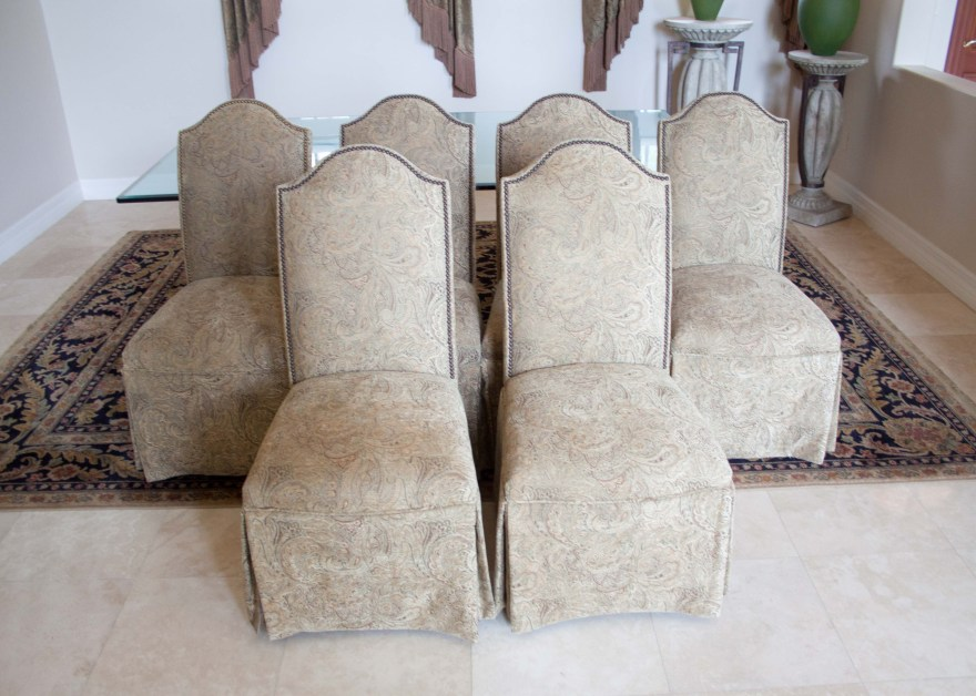 Set of Six Skirted Parsons Chairs  EBTH