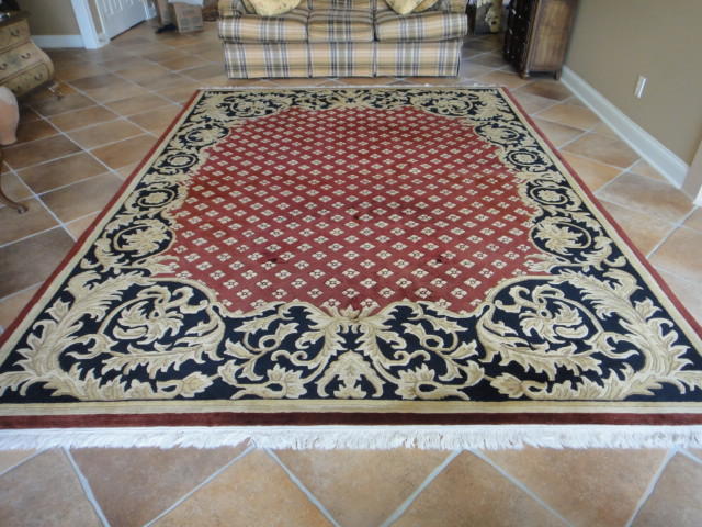 Navy Red and Gold European Style Area Rug 12x9  EBTH