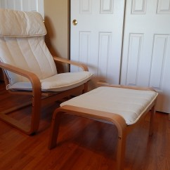Poang Chairs Reclining Game Chair Ikea And Footstool Ebth