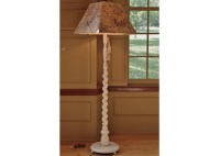 Barley Twist White Floor Lamp with Square Floral Shade : EBTH