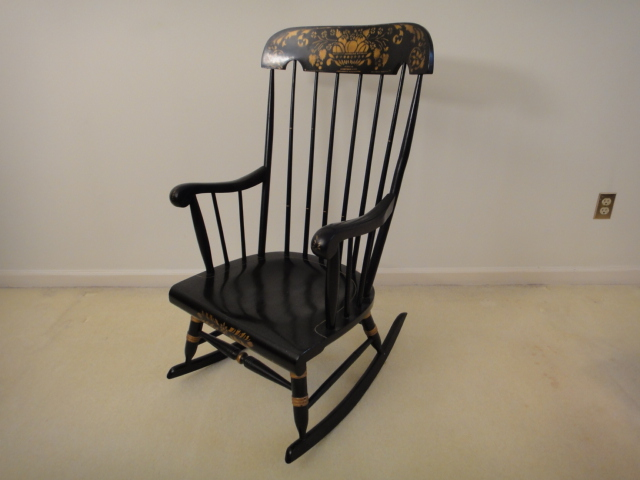 Vintage Black Rocking Chair with Gold Stenciling  EBTH