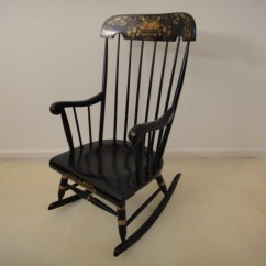 Black Rocking Chairs Desk Chair Dimensions Vintage With Gold Stenciling Ebth
