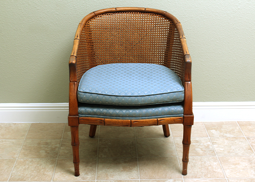 mid century cane barrel chair folding chairs for kids ebth