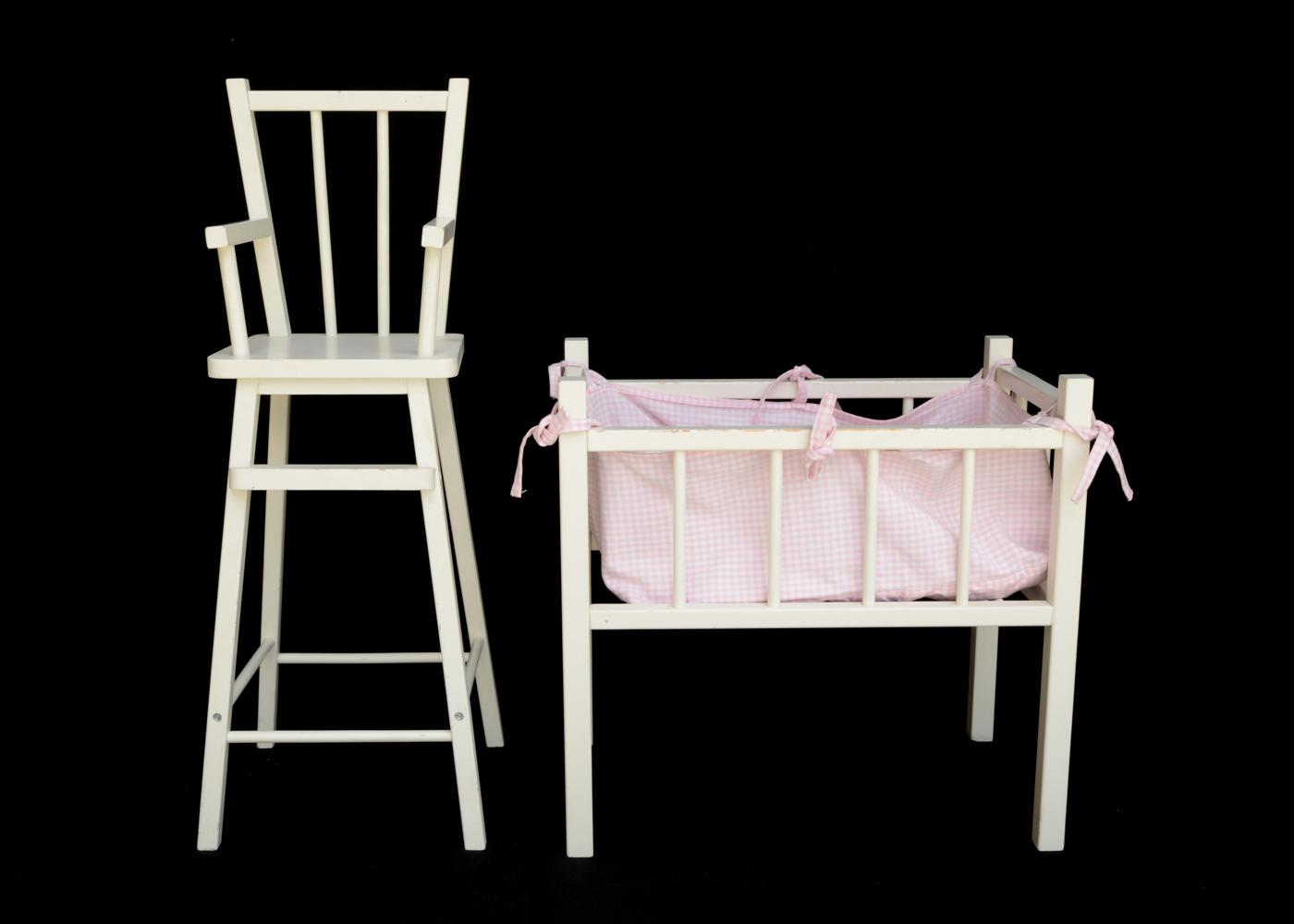 pottery barn kids doll high chair grey lounge crib and ebth