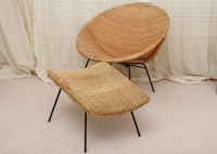 Mid-Century Round Rattan Hoop Chair and Ottoman : EBTH