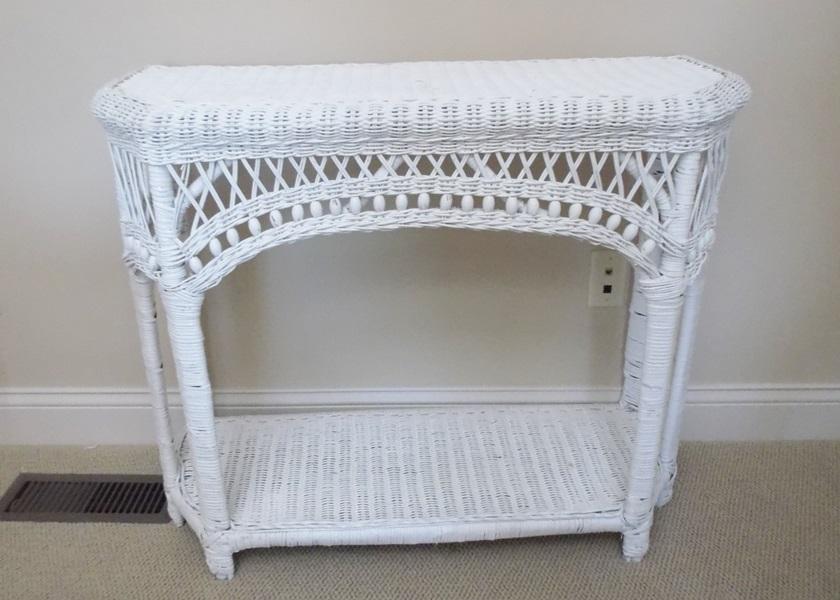 white wicker console table ebth