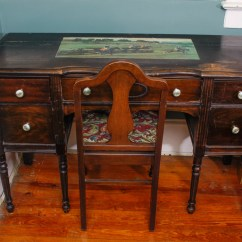 Antique Mahogany Office Chair Tall Drafting Chairs Desk And Fiddle Back Ebth