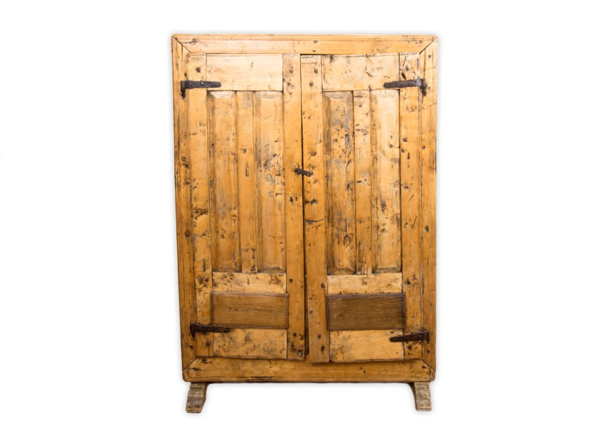 Antique Farmhouse Rustic Wood Pantry Cabinet  EBTH