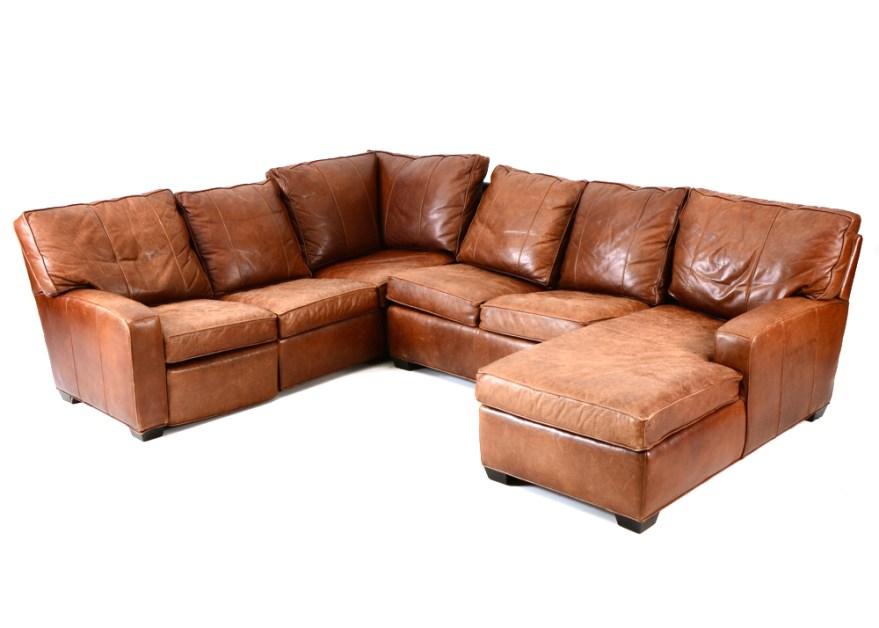 arhaus leather sectional sofa