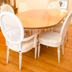 Antique French Dining Table And Chairs Ethan Allen Vintage Provincial Ebth