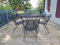 Wrought Iron Mesh Patio Table and Four Chairs : EBTH