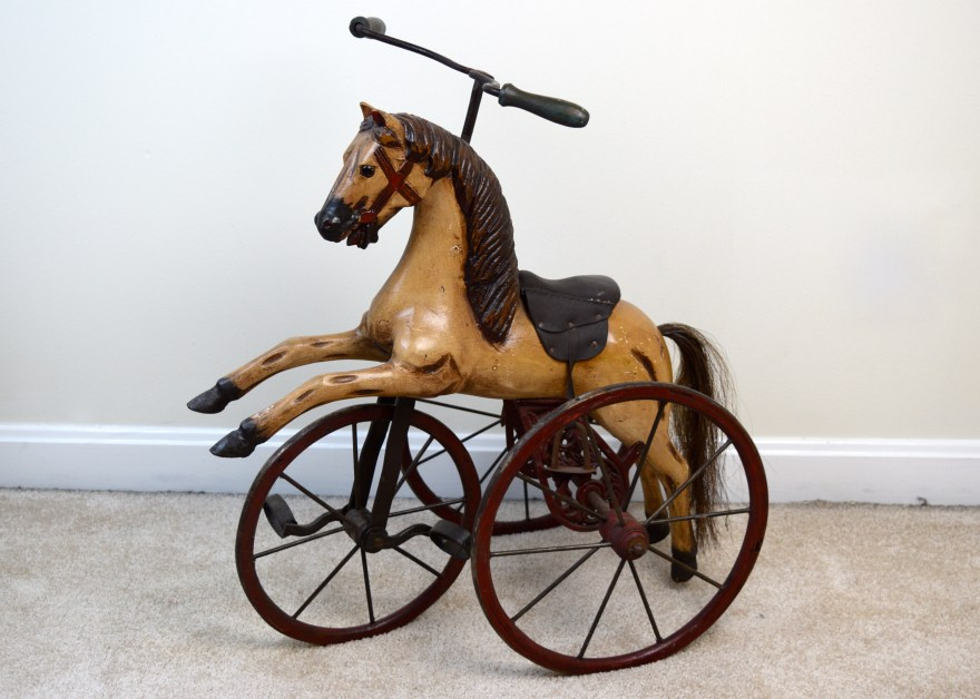 Reproduction Hand-carved Wooden Horse Tricycle Ebth