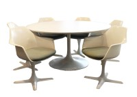 Mid-Century Modern Burke Dining Table with Tulip Chairs : EBTH