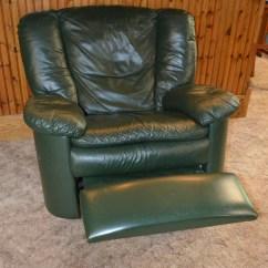 Dark Green Recliner Chair With Ottoman Sets Natuzzi Leather Swivel Rocker Ebth