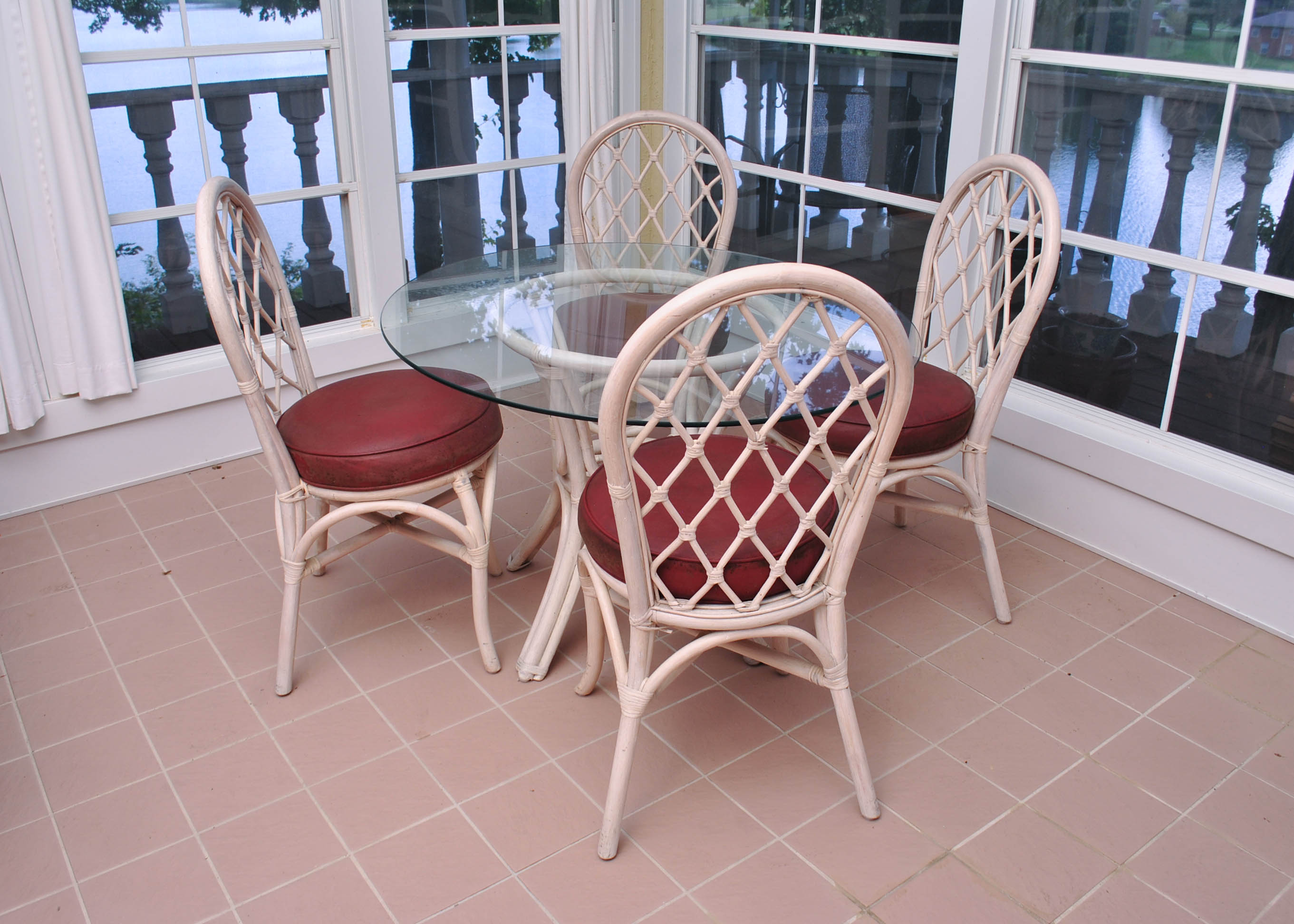 steel vinyl chair tufted leather club clark casual rattan round glass top table and four chairs : ebth