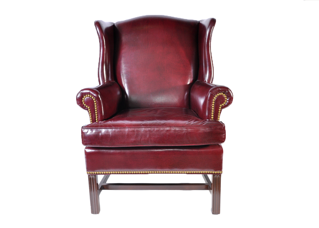 oxblood leather wing chair places to borrow tables and chairs hancock moore wingback ebth