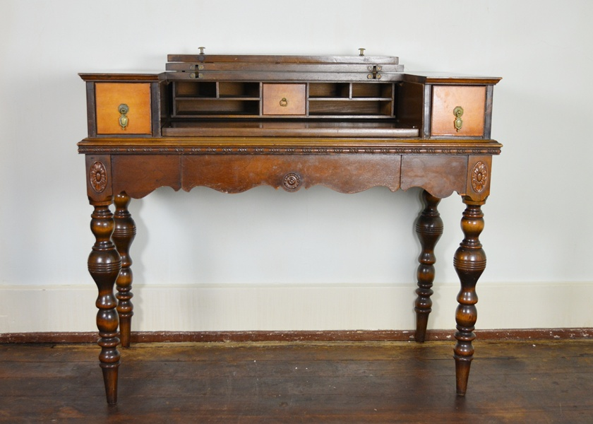 Antique Spinet Style Flip-top Walnut Writing Desk Ebth