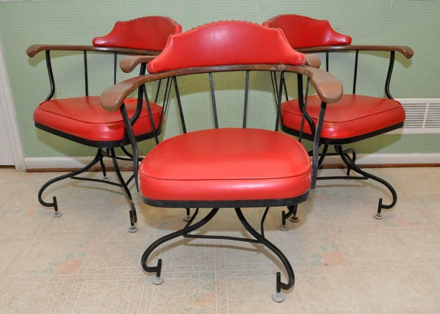Three Vintage Red Vinyl & Wrought Iron Swivel Barrel