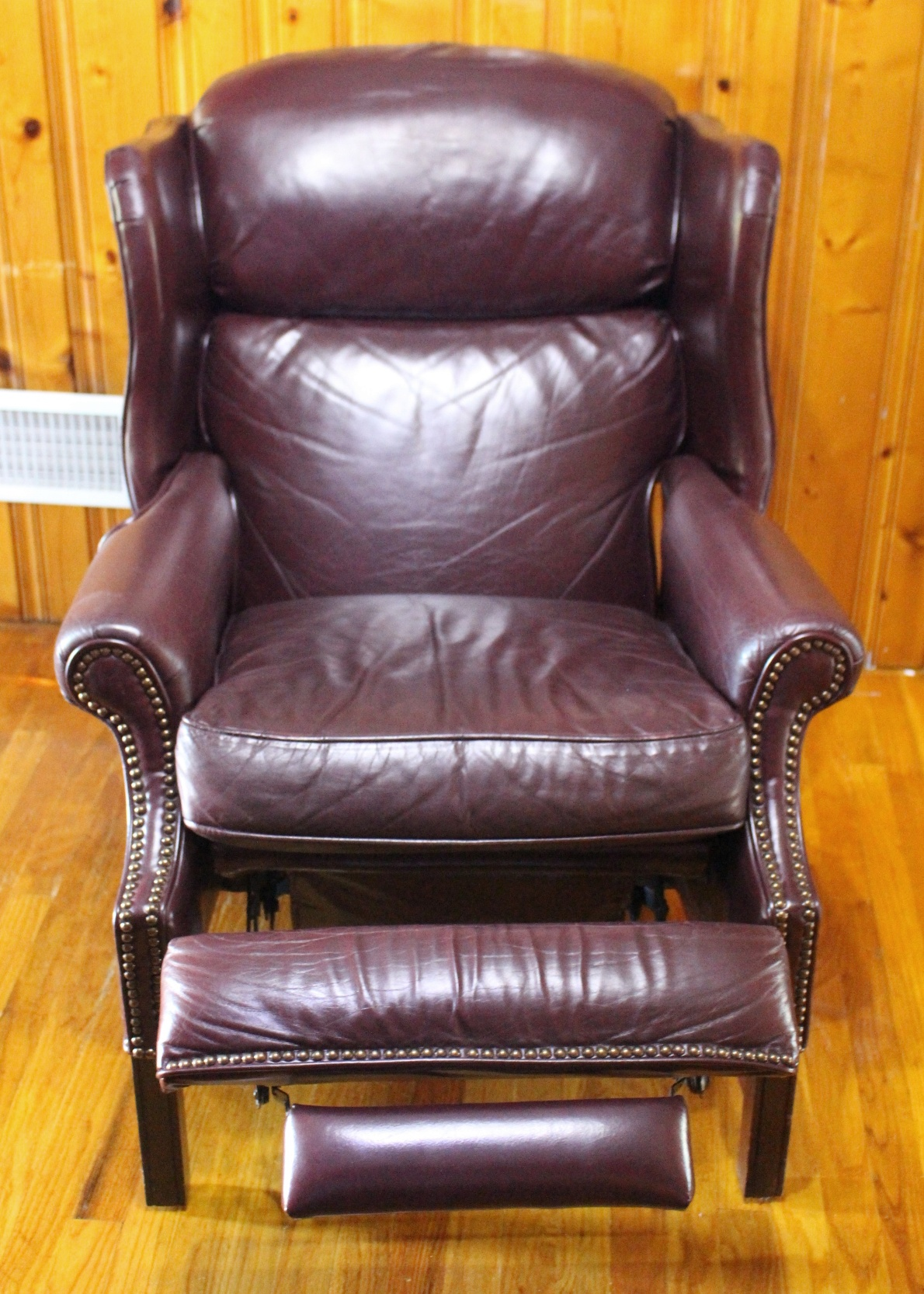 leather chairs for sale chair mat bamboo burgundy barcalounger wingback recliner : ebth