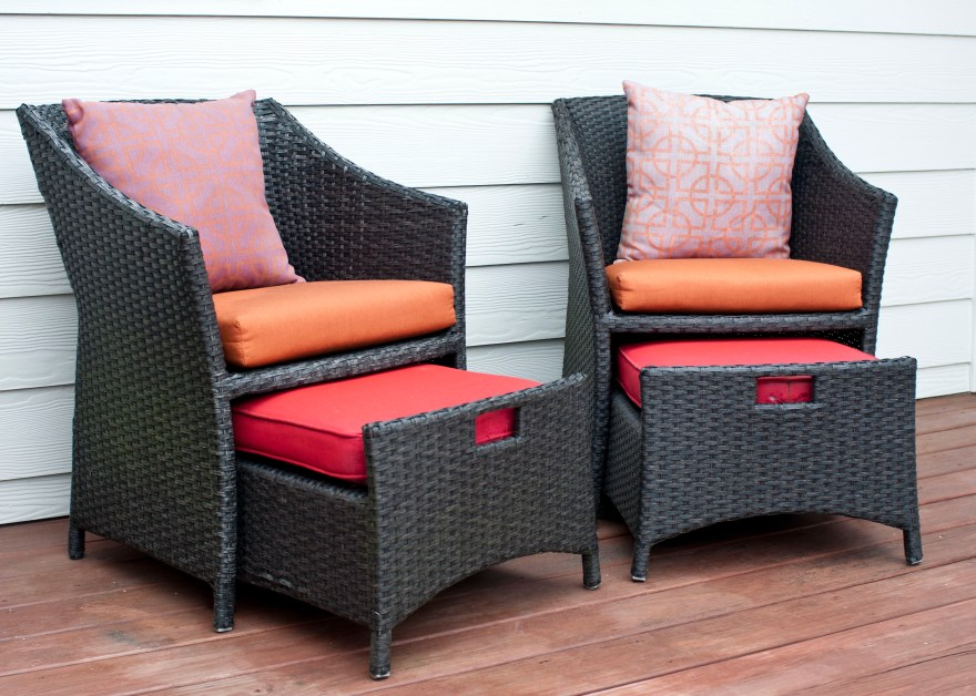 Wicker Patio Chairs And Pull- Ottomans Ebth
