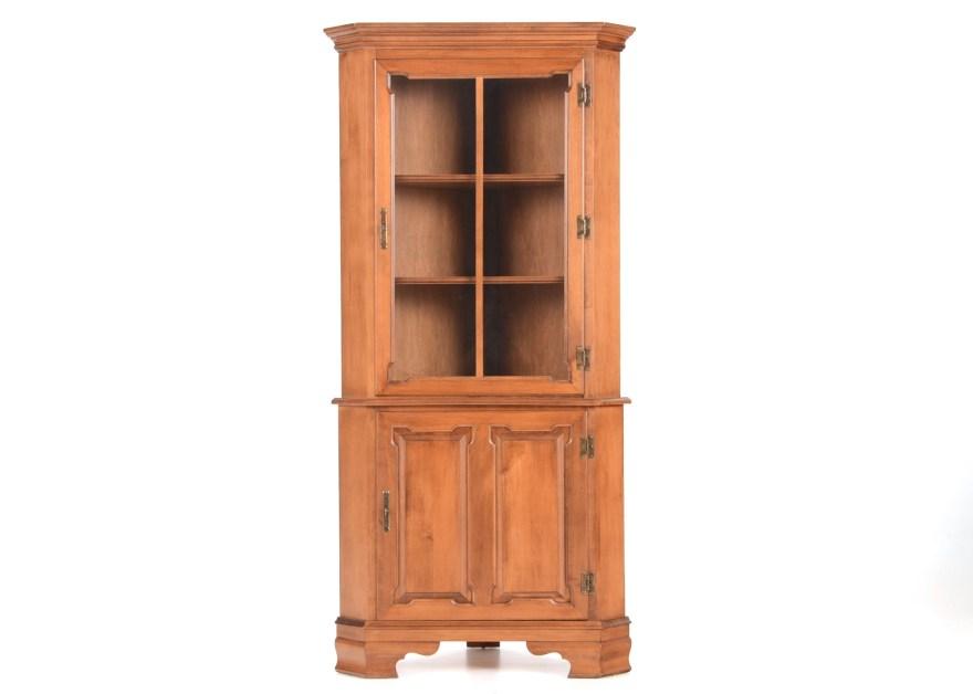 Vintage Tell City Maple Corner Cabinet  EBTH