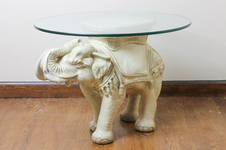 elephant table base and glass top