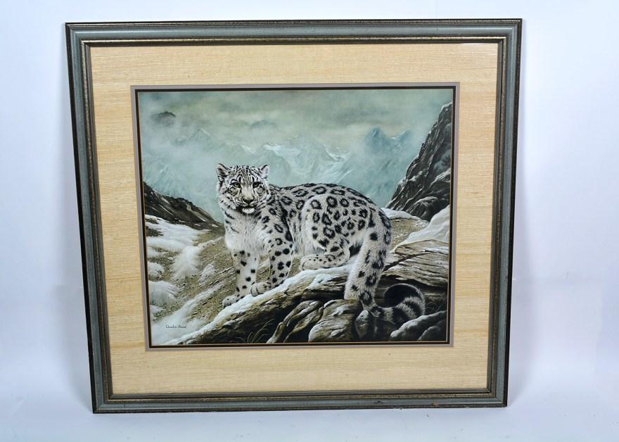 Framed Charles Frace' Snow Leopard Print Ebth