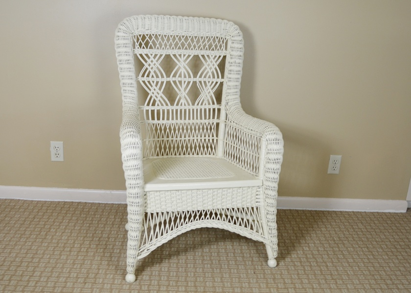 Vintage White Painted Wicker Chair Ebth