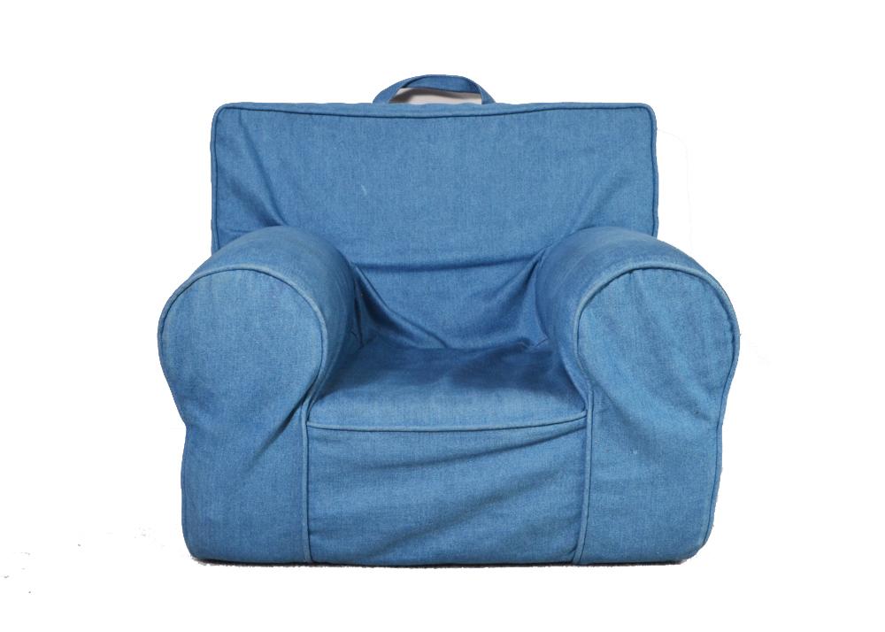 anywhere chair insert upholstered swivel chairs pottery barn kids denim ebth
