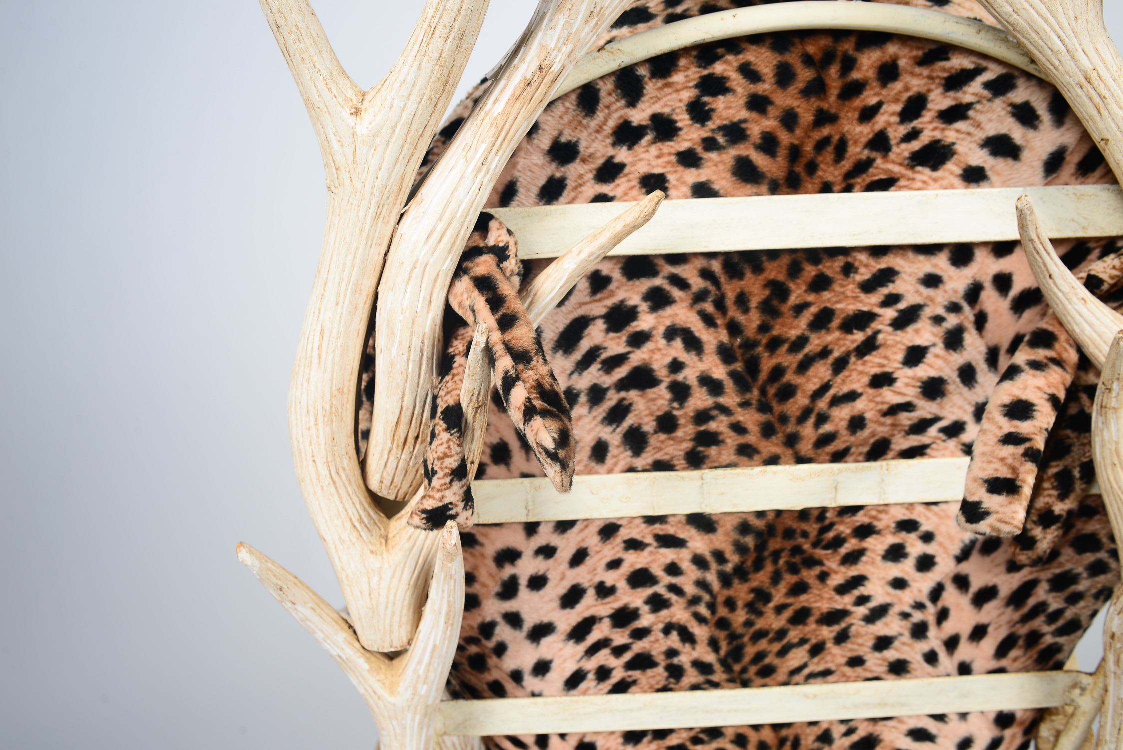 leopard high heel shoe chair swing shops near me decorative print faux antler ebth